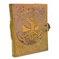 Tree of Life and Rivers of Wisdom Leather Journal in Yellow