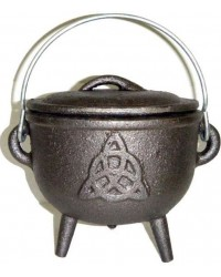 Triquetra Cast Iron 4.5 Inch Witches Cauldron All Wicca Store Magickal Supplies Wiccan Supplies, Wicca Books, Pagan Jewelry, Altar Statues