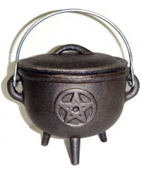 Pentacle Cast Iron 4.5 Inch Witches Cauldron All Wicca Store Magickal Supplies Wiccan Supplies, Wicca Books, Pagan Jewelry, Altar Statues