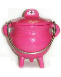 Pink Cast Iron Mini Cauldron with Lid All Wicca Store Magickal Supplies Wiccan Supplies, Wicca Books, Pagan Jewelry, Altar Statues