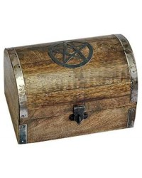 Pentacle Wooden Chest All Wicca Store Magickal Supplies Wiccan Supplies, Wicca Books, Pagan Jewelry, Altar Statues