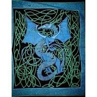 Celtic English Dragon Tapestry - Full Size Blue