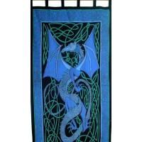 Celtic English Dragon Curtain - Blue