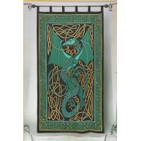 Celtic English Dragon Curtain - Green