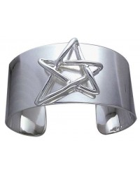 Modern Pentagram Cuff Bracelet in Sterling Silver All Wicca Store Magickal Supplies Wiccan Supplies, Wicca Books, Pagan Jewelry, Altar Statues