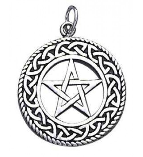 Celtic Border Pentacle Sterling Silver Pendant at All Wicca Store Magickal Supplies, Wiccan Supplies, Wicca Books, Pagan Jewelry, Altar Statues
