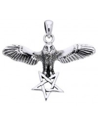 Flying Owl Pentagram Sterling Silver Pendant All Wicca Store Magickal Supplies Wiccan Supplies, Wicca Books, Pagan Jewelry, Altar Statues