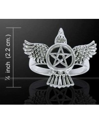 Pentacle Raven Sterling Silver Ring All Wicca Store Magickal Supplies Wiccan Supplies, Wicca Books, Pagan Jewelry, Altar Statues