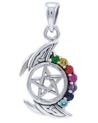 Pentagram, Crescent Moon, and Chakra Silver Pendant All Wicca Store Magickal Supplies Wiccan Supplies, Wicca Books, Pagan Jewelry, Altar Statues