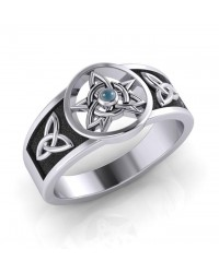 Celtic Trinity Pentacle Blue Topaz Ring All Wicca Store Magickal Supplies Wiccan Supplies, Wicca Books, Pagan Jewelry, Altar Statues