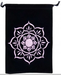 Lotus Embroidered Velvet Pouch All Wicca Store Magickal Supplies Wiccan Supplies, Wicca Books, Pagan Jewelry, Altar Statues