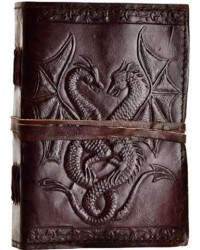 Double Dragon Leather Journal All Wicca Store Magickal Supplies Wiccan Supplies, Wicca Books, Pagan Jewelry, Altar Statues