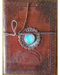Triple Moon Gemstone Leather 7 Inch Journal All Wicca Store Magickal Supplies Wiccan Supplies, Wicca Books, Pagan Jewelry, Altar Statues