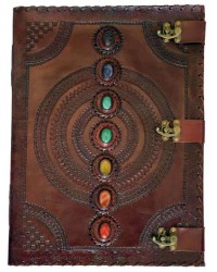 7 Chakra Stones Large Leather Blank Journal - 18 Inches All Wicca Store Magickal Supplies Wiccan Supplies, Wicca Books, Pagan Jewelry, Altar Statues