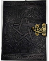 Pentacle Black Leather Book of Shadows 7 Inch Journal with Latch All Wicca Store Magickal Supplies Wiccan Supplies, Wicca Books, Pagan Jewelry, Altar Statues