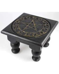 Pentacle Carved Wood Altar Table All Wicca Store Magickal Supplies Wiccan Supplies, Wicca Books, Pagan Jewelry, Altar Statues