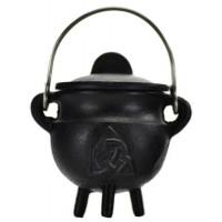Triquetra Cast Iron Mini Cauldron with Lid