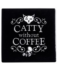 Catty Without Coffee Ceramic Coaster All Wicca Store Magickal Supplies Wiccan Supplies, Wicca Books, Pagan Jewelry, Altar Statues