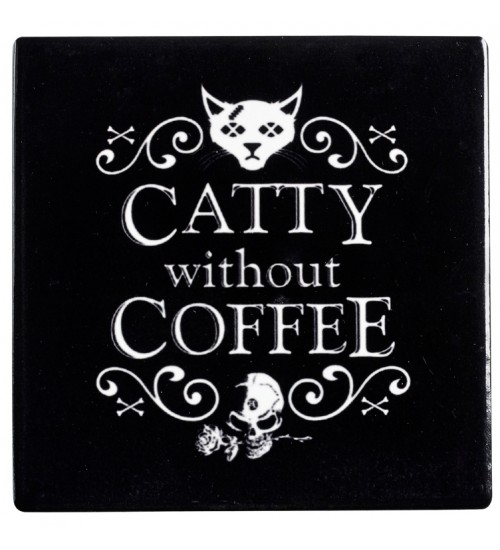 Catty Without Coffee Ceramic Coaster at All Wicca Store Magickal Supplies, Wiccan Supplies, Wicca Books, Pagan Jewelry, Altar Statues