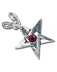 Crystal Pentagram Pewter Necklace