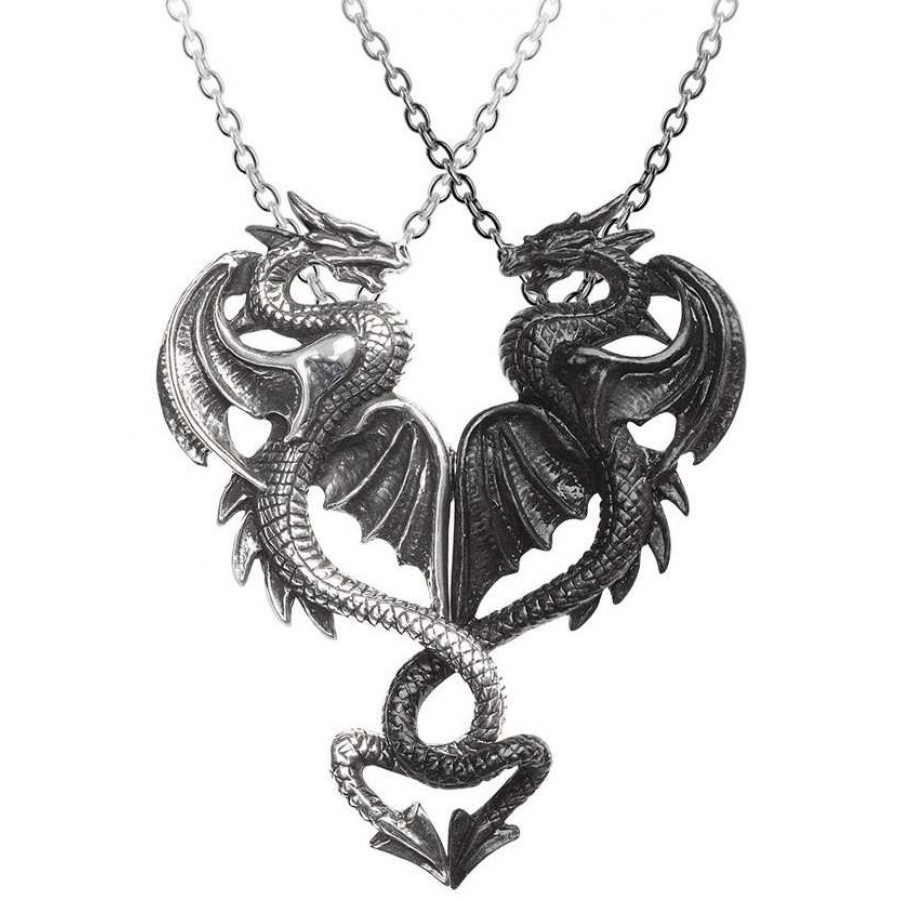 Draconic Tryst Double Dragon Gothic Friendship Necklace Dual Necklace