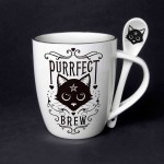 Purrfect Brew Black Cat Mug and Spoon Set