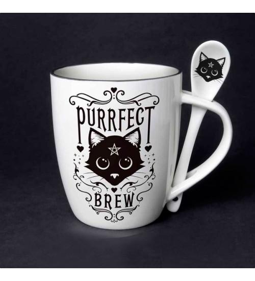 Purrfect Brew Black Cat Mug and Spoon Set