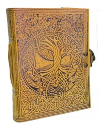 Tree of Life and Rivers of Wisdom Leather Journal in Yellow All Wicca Store Magickal Supplies Wiccan Supplies, Wicca Books, Pagan Jewelry, Altar Statues