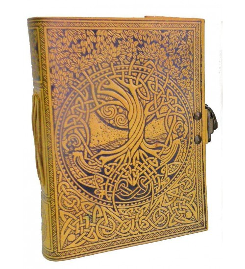 Tree of Life and Rivers of Wisdom Leather Journal in Yellow at All Wicca, Wiccan Altar Supplies, Books, Jewelry, Statues