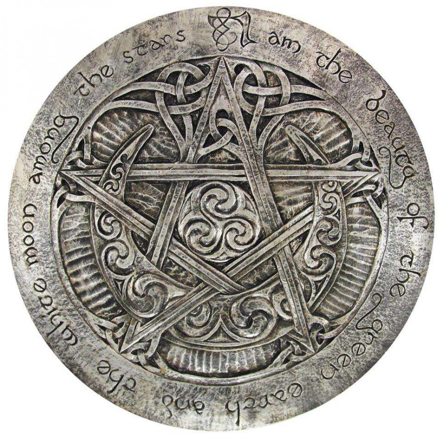 Moon pentacle large plaque by paul borda wicca witchcraft crescent moon large pentacle wall plaque biocorpaavc Images