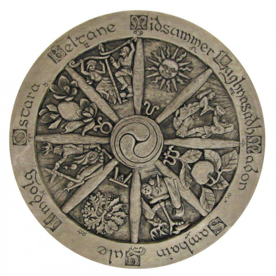 Celtic Calendar Wood : Wheel of the year wiccan pagan sabbat plaque inches
