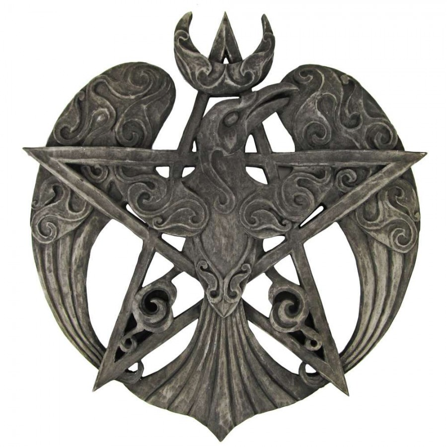Pentacle raven crescent moon plaque 13 inches wiccan witchcraft crescent raven large pentacle plaque crescent raven large pentacle plaque biocorpaavc
