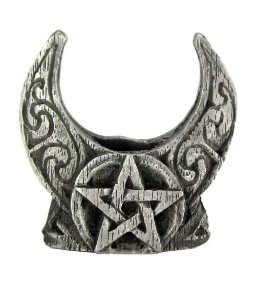 Crescent Moon Pentacle Mini Pewter Candle Holder at All Wicca Magickal Supplies, Wiccan Supplies, Wicca Books, Pagan Jewelry, Altar Statues