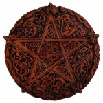 Celtic Knotwork Pentacle Wood Finish Plaque - 5 Inches