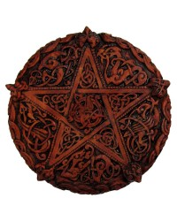 Celtic Knotwork Pentacle Wood Finish Plaque - 5 Inches All Wicca Store Magickal Supplies Wiccan Supplies, Wicca Books, Pagan Jewelry, Altar Statues