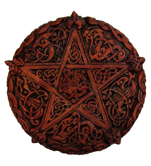 Celtic Knotwork Pentacle Wood Finish Plaque - 5 Inches at All Wicca Store Magickal Supplies, Wiccan Supplies, Wicca Books, Pagan Jewelry, Altar Statues