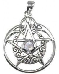 Crescent Moon Pentacle Sterling Silver Pendant with Gemstone All Wicca Store Magickal Supplies Wiccan Supplies, Wicca Books, Pagan Jewelry, Altar Statues