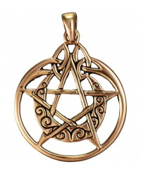 Crescent Moon Pentacle Pendant in Copper All Wicca Store Magickal Supplies Wiccan Supplies, Wicca Books, Pagan Jewelry, Altar Statues