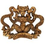 Ormhaxan Snake Charmer Wood Finish Plaque