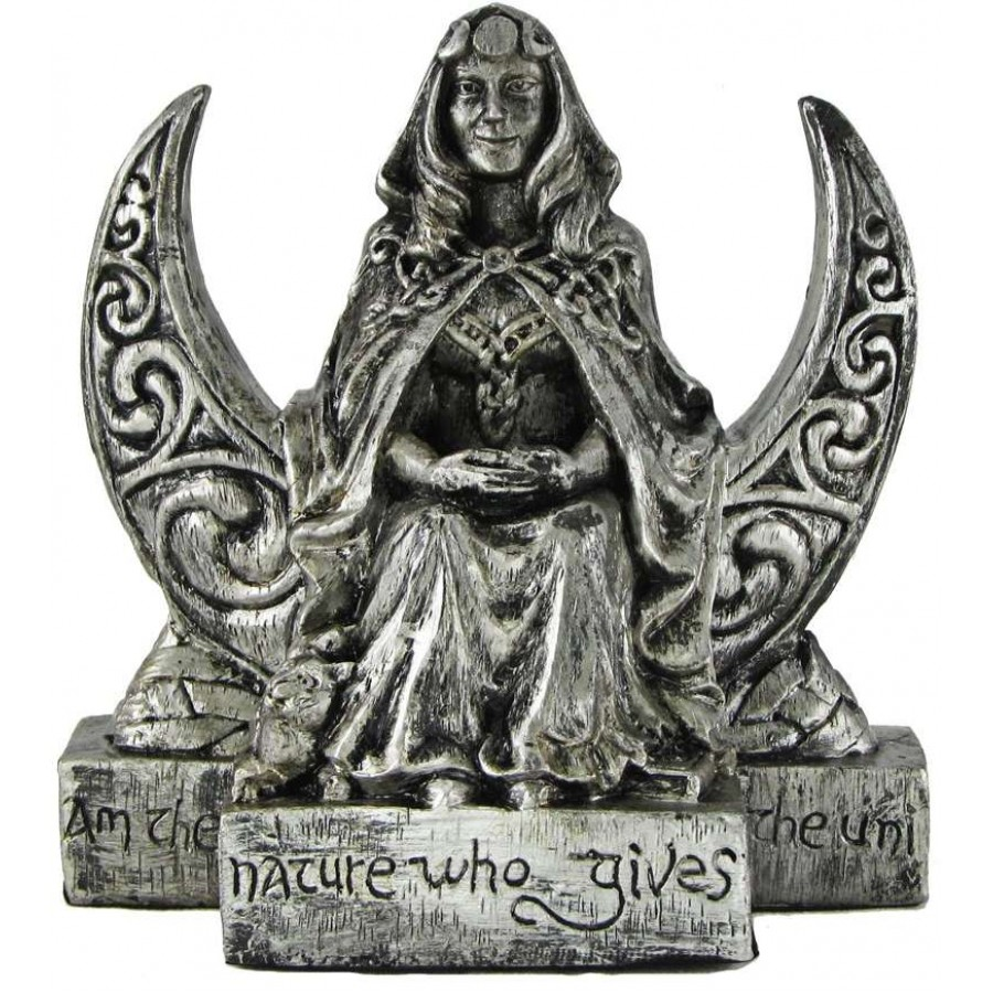Moon Goddess Statue Wood Carved 7.9 Inches Altar Doll For Witchcraft Sculpture Luna