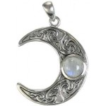 Crescent Moon Sterling Silver Pendant with Gemstone