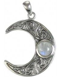 Crescent Moon Sterling Silver Pendant with Gemstone All Wicca Store Magickal Supplies Wiccan Supplies, Wicca Books, Pagan Jewelry, Altar Statues