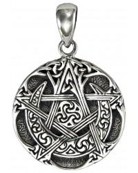 Moon Pentacle Small Sterling Silver Pendant All Wicca Store Magickal Supplies Wiccan Supplies, Wicca Books, Pagan Jewelry, Altar Statues