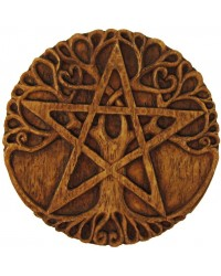 Tree Pentacle Wood Finish Plaque All Wicca Store Magickal Supplies Wiccan Supplies, Wicca Books, Pagan Jewelry, Altar Statues