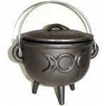 Triple Moon Cast Iron 4.5 Inch Witches Cauldron