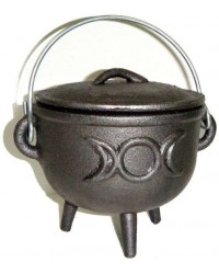 Triple Moon Cast Iron 4.5 Inch Witches Cauldron All Wicca Supply Shop Wiccan Supplies, All Wicca Books, Pagan Jewelry, Wiccan Altar Statues