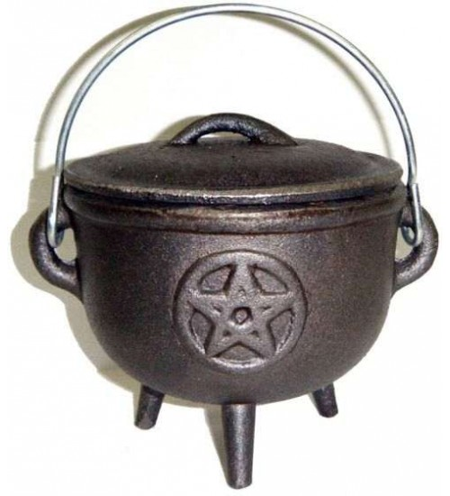 Pentacle Cast Iron 4.5 Inch Witches Cauldron