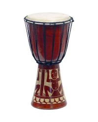 Djembe Drum Carved Red Mahogany Finish - Assorted Designs