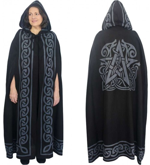 Pentacle Black Hooded Cloak at All Wicca Store Magickal Supplies, Wiccan Supplies, Wicca Books, Pagan Jewelry, Altar Statues