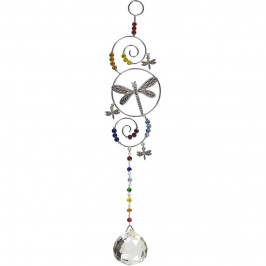 Dragonfly Wire Hanging Crystal Prism Suncatcher